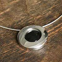 Obsidian pendant necklace, 'Black Moon' - Obsidian and Silver Pendant Necklace