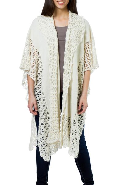 Ivory Artistwoven Alpaca Wool Ruana Cloak Wrap