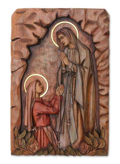 Our Lady of Lourdes Cedar Wall Panel from Peru