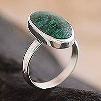 Chrysocolla solitaire ring, 'Legacy' - Sterling Silver and Chrysocolla Ring