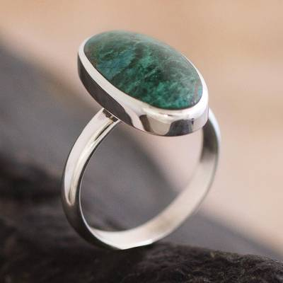 thin silver necklace - Sterling Silver and Chrysocolla Ring