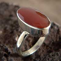 Carnelian solitaire ring, 'Legacy' - Peru Jewelry Silver And Carnelian Ring