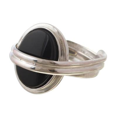 Modern Sterling Silver Single Stone Onyx Ring