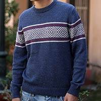 Alpaca blend men's sweater, 'Blue Mountains' - Men's Unique Peruvian Geometric Alpaca Wool Sweater