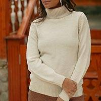 Alpaca blend sweater, 'Winter Ivory' - Handcrafted Alpaca Wool Turtleneck Sweater