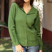 Alpaca cardigan sweater, 'Spearmint' - Peruvian Alpaca Wool Sweater