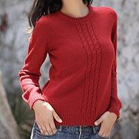 Alpaca blend sweater, 'Fire' - Red Alpaca Blend Pullover Sweater