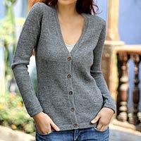 100% alpaca sweater, 'Andean Mist' - 100% alpaca sweater