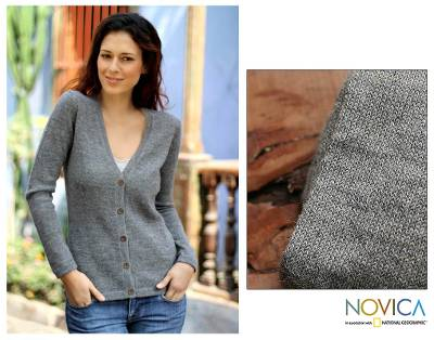 100% alpaca sweater, 'Andean Mist' - 100% alpaca sweater
