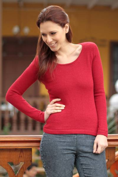 100% alpaca sweater, 'Ruby Charm' - Peruvian Alpaca Wool Pullover Sweater