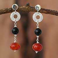 Carnelian & onyx dangle earrings,