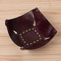 Leather catchall, 'Essentially Square' (6.75 inch) - Handcrafted Andean Leather Catchall with Decorative Studs
