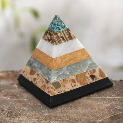 Gemstone pyramid, 'Be Positive' - Good Energy Gemstone Pyramid Sculpture from Peru