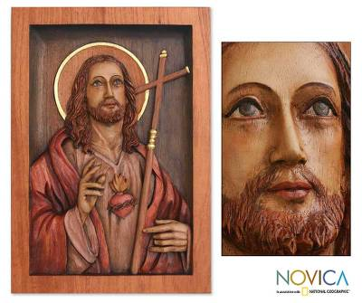 Cedar relief panel, 'Jesus Sacred Heart' - Hand Made Christianity Wood Relief Panel