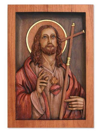 Hand Made Christianity Wood Relief Panel
