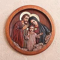 Cedar relief panel Loving Holy Family Peru