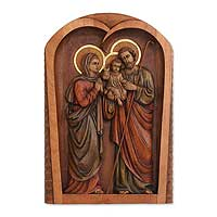 Cedar relief panel, 'Holy Family Together' - Cedar relief panel