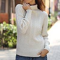 Alpaca blend sweater, 'Winter Chic' - Alpaca sweater
