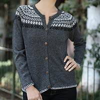 Alpaca blend sweater, 'Junin Elegance' - Peruvian Alpaca Wool Cardigan Sweater