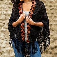 100% alpaca shawl, 'Boheme' - Fair Trade Womens Alpaca Wool Fringed Knit Wrap Shawl