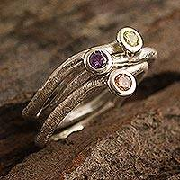 Amethyst, citrine and peridot solitaire rings, 'Islands' (set of 3) - Unique Gemstone Stacking Rings (Set of 3)