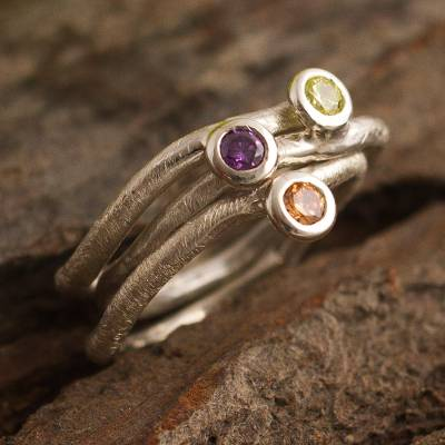Unique Gemstone Stacking Rings (Set of 3)