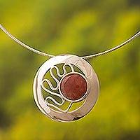 Rhodochrosite pendant necklace, 'Moonbeams' - Rhodochrosite and Sterling Silver Necklace