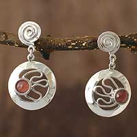 Rhodochrosite dangle earrings, 'Moonbeams' - Rhodochrosite dangle earrings