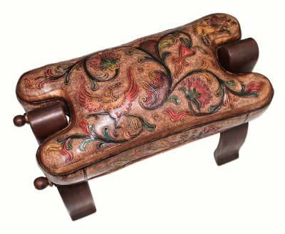 Wood and leather stool, 'Golden Paradise' - Unique Wood Leather Ottoman Horse Seat Stool