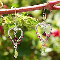 Garnet and peridot dangle earrings,