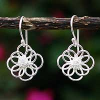 Silver flower earrings, 'Petals of Light' - Silver flower earrings