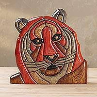 Wood sculpture, 'Majestic Tiger' - Wood Tiger Sculpture Handmade in Peru