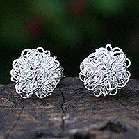 Silver button earrings, Flirt