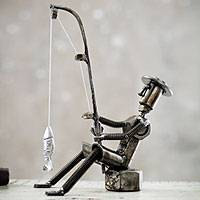 Auto part sculpture, 'Fisherman's Luck' - Collectible Recycled Auto Parts Sculpture