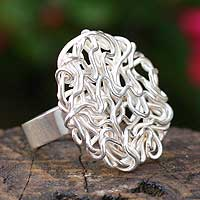 Silver cocktail ring, 'Labyrinth' - Silver cocktail ring