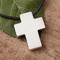 Men's leather necklace, 'Southern Cross' - Men's Peruvian Cross Fine Silver Cord Necklace