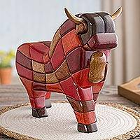 Wood sculpture Lucky Bull from Pucara large Peru