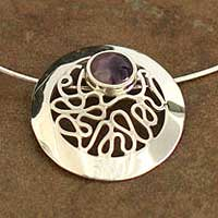 Amethyst pendant necklace, 'Moonbeams' - Handcrafted Amethyst and Silver Necklace