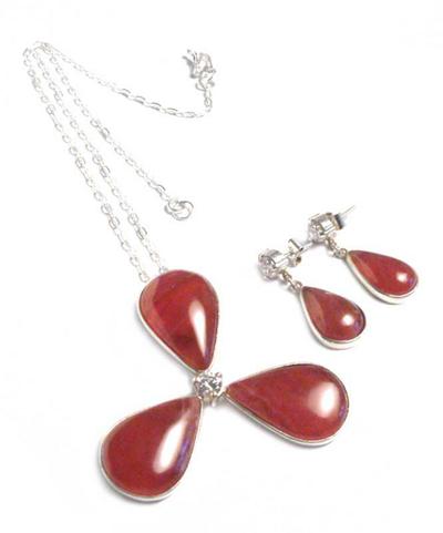Rhodochrosite jewelry set