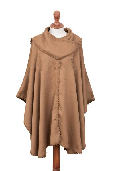 Alpaca blend cape with scarf