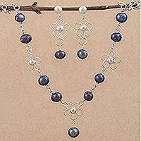 Pearl jewelry set, 'Shadow Flower' - Pearl jewelry set
