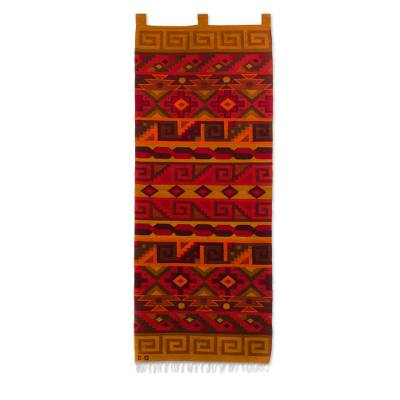 Wool tapestry, 'Inca Warmth' - Peruvian Geometric Wool Tapestry Wall Hanging