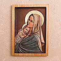 Cedar relief panel Young Madonna Peru