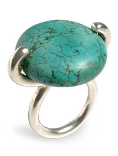 Hand Crafted Reconstituted Turquoise and Silver Ring