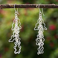 Sterling silver dangle earrings, 'Fiesta' - Silver Dangle Earrings Sterling 925 Handmade Peru