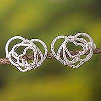 Sterling silver heart earrings, 'Bubbling Love' - Sterling silver heart earrings