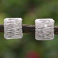 Sterling silver button earrings, 'Angelic Cascade'