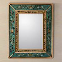 Mirror, 'Emerald Fields' - Reverse Painted Glass Wall Mirror with Floral Pattern