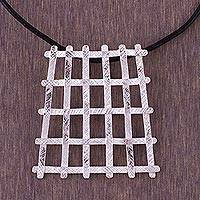 Leather pendant necklace, 'The Grid' - Leather pendant necklace