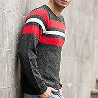 100% alpaca men's sweater, 'Andean Adventure' - Handcrafted Men's Alpaca Wool Striped Pullover Sweater